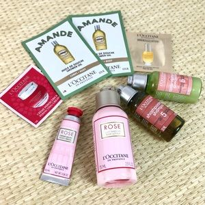 L'Occitane Rose Travel Size Lotion with samples